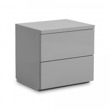 Monaco 2 Drawer Grey High Gloss Bedside Cabinet