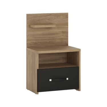 Monaco Matt Black & Stirling Oak 1 Drawer Left-Handed Bedside Cabinet