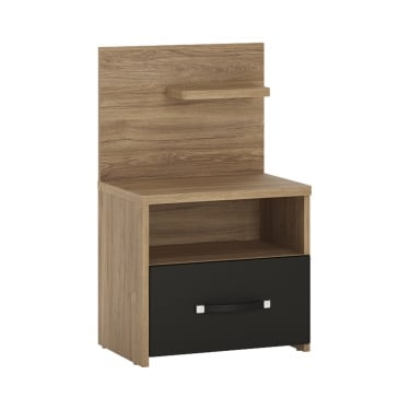 Monaco Matt Black & Stirling Oak 1 Drawer Right-Handed Bedside Cabinet