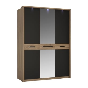Monaco Matt Black & Stirling Oak 3 Door Mirrored Wardrobe