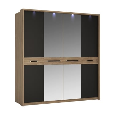 Monaco Matt Black & Stirling Oak 4 Door Mirrored Wardrobe