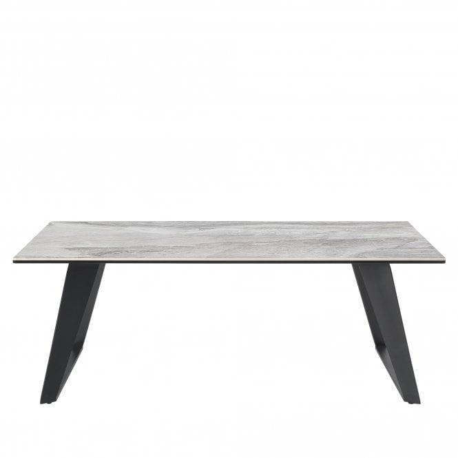 Morada Coffee Table, Ceramic Glass & Grey Metal