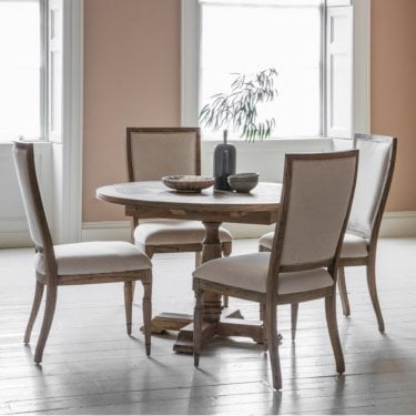 Mustique Round Extending Dining Table, Aged Mindy Ash
