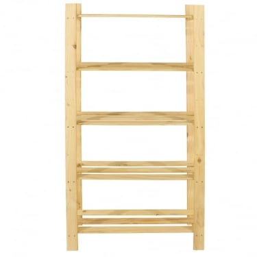 Natural Wood 300x1600mm 5 Tier Shelf Unit