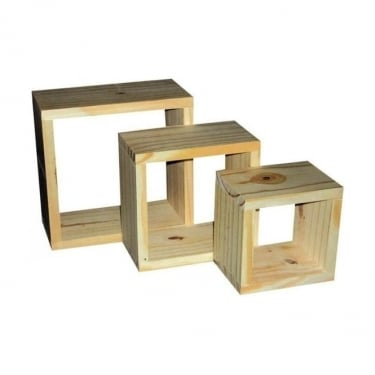 Natural Wood Wall Cube 3-Pack