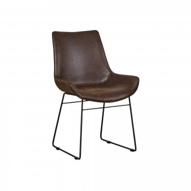 New York Faux Leather Scoop Pair of Dining Chairs