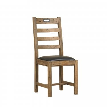 New York Rustic Pine Ladder Back Pair of Dining Chairs