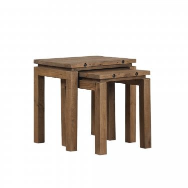 New York Rustic Pine Nest of 2 Tables