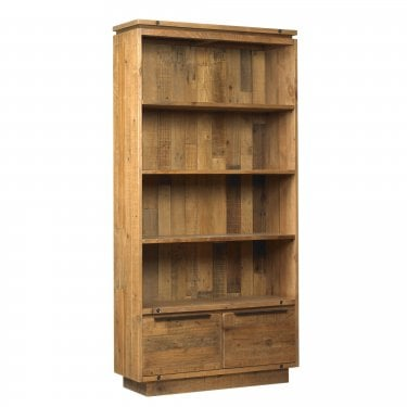 New York Wooden Tall 2 Drawer Bookcase