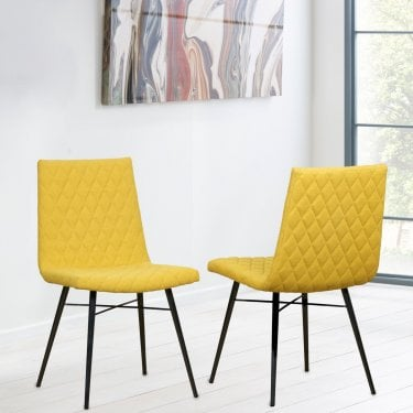New York Yellow Quilted Back Pair of Dining Chairs
