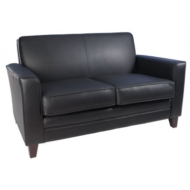 Newport Black & Mahogany Sofa with Wooden Legs