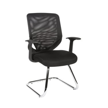 Nova Black Visitor Chair with Chrome Frame