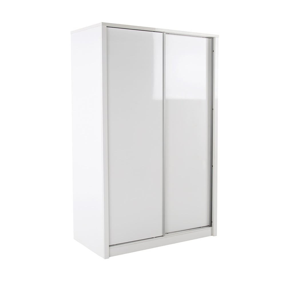 novello high gloss white 2 door sliding wardrobe - White Wardrobe