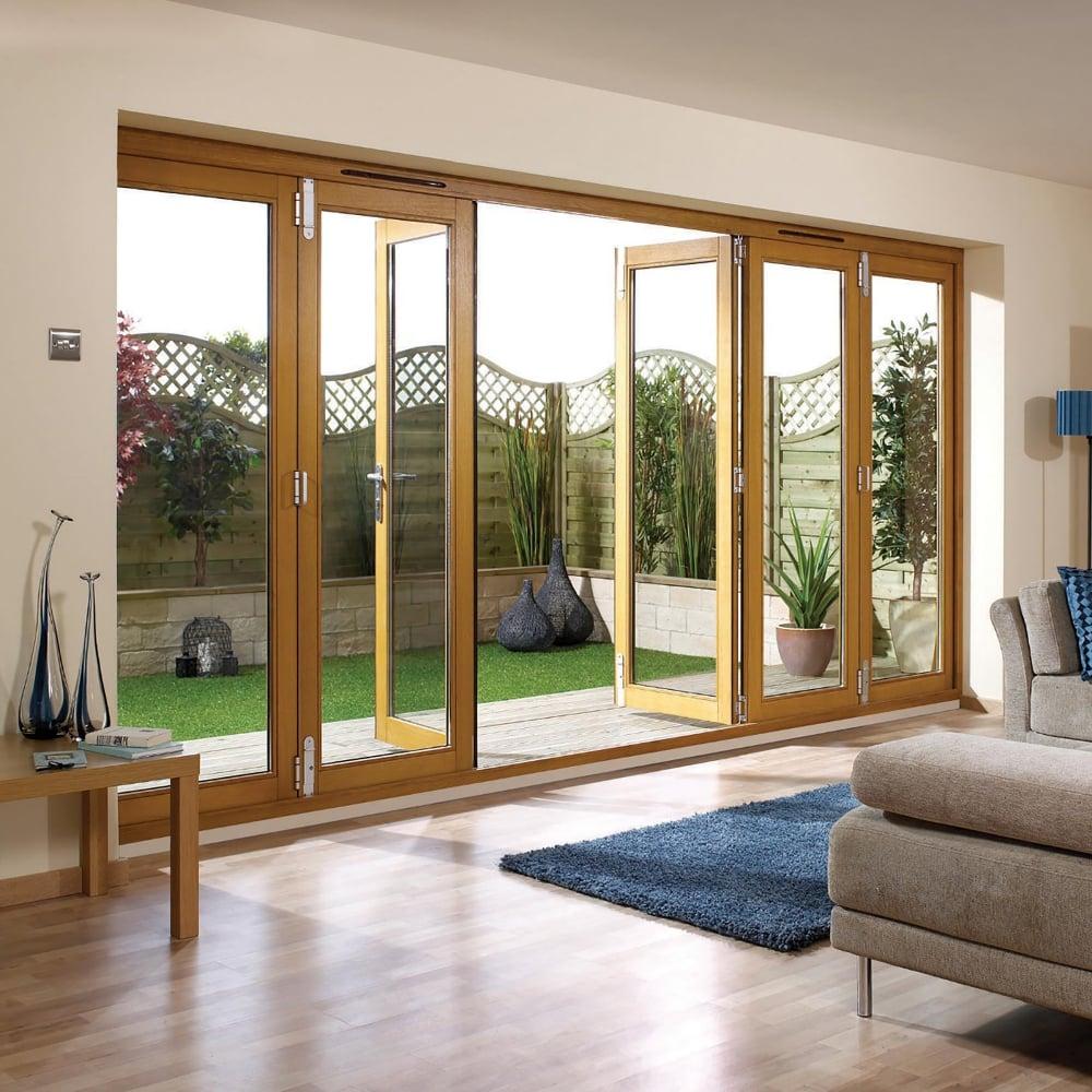 LPD Doors NUVU External PreFinished Oak Folding Sliding Patio Doorset 600 x 600