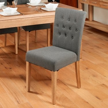 Oak Slate Grey Linen Dining Chair Pair
