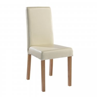 Oakridge Dining Chair Set Of 2, Cream & Faux Leather