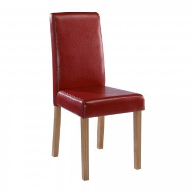 Oakridge Dining Chair Set Of 2, Red & Faux Leather