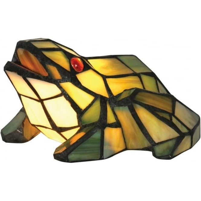 Oaks Lighting Animal Tiffany Stained Glass Indoor Table Lamp With Frog  Design (OT 150 FR
