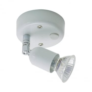 Oaks Lighting Bas Single White Switched Spotlight