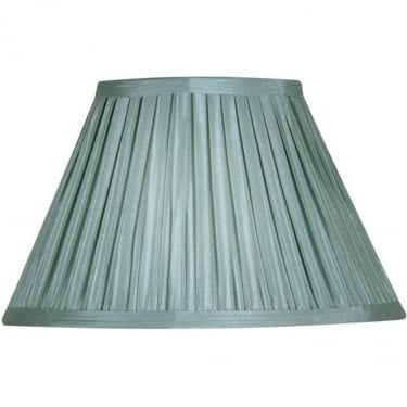 "Oaks Lighting Box Pleat 12"" Duck Egg Silk Fabric Shade"