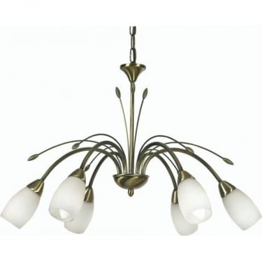 Oaks Lighting Decorative Antwerp Antique Brass 6 Light Ceiling Pendant