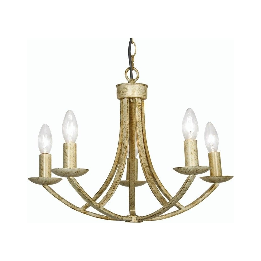Oaks Lighting Decorative Caro Cream Gold Ceiling Light