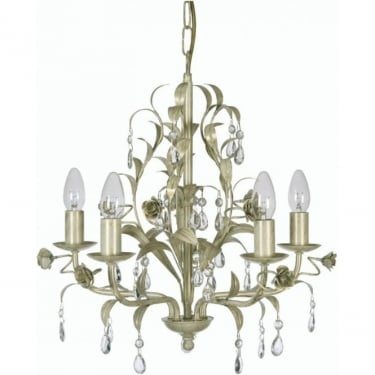 Oaks Lighting Decorative Catania Cream Gold 5 Light Ceiling Chandelier