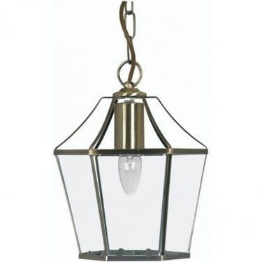 Oaks Lighting Decorative Dulverton Antique Brass Indoor Lantern with Clear Glass (1044 AB)