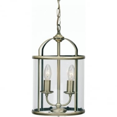 Oaks Lighting Decorative Fern Antique Brass Ceiling 2 Light with Clear Glass