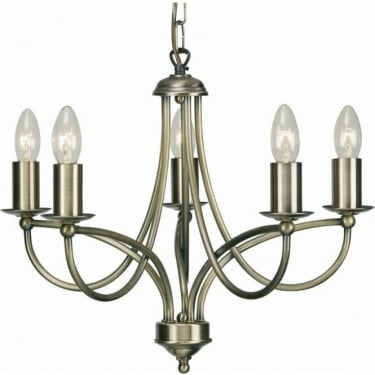 Oaks Lighting Decorative Loop Antique Brass 5 Light Ceiling Light