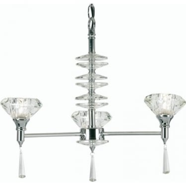 Oaks Lighting Decorative Sahar Chrome 3 Light Ceiling Pendant