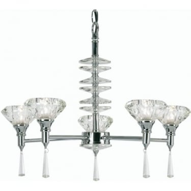 Oaks Lighting Decorative Sahar Chrome 5 Light Pendant