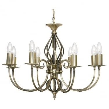 Oaks Lighting Decorative Tuscany Antique Brass 8 Light Ceiling Light