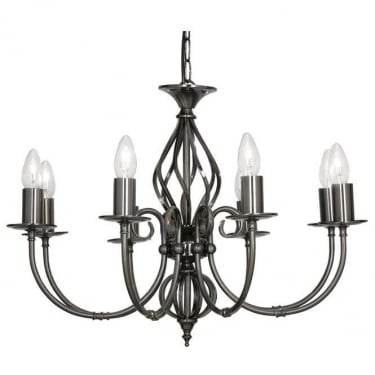 Oaks Lighting Decorative Tuscany Antique Silver 8 Light Ceiling Light
