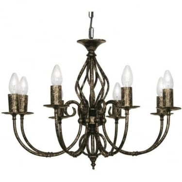 Oaks Lighting Decorative Tuscany Black Gold 8 Light Ceiling Light