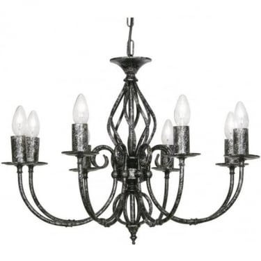 Oaks Lighting Decorative Tuscany Black Silver 8 Light Ceiling Light