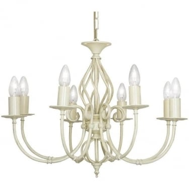 Oaks Lighting Decorative Tuscany Ivory 8 Light Ceiling Light