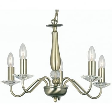Oaks Lighting Decorative Vesta Antique Brass 5 Light Ceiling Light