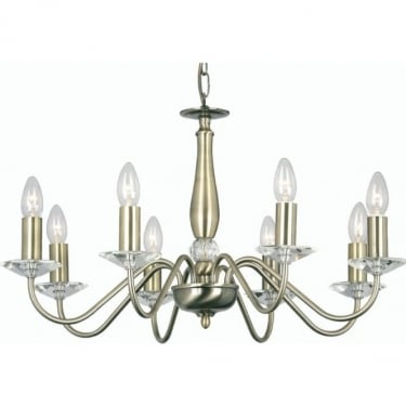 Oaks Lighting Decorative Vesta Antique Brass 8 Light Ceiling Light