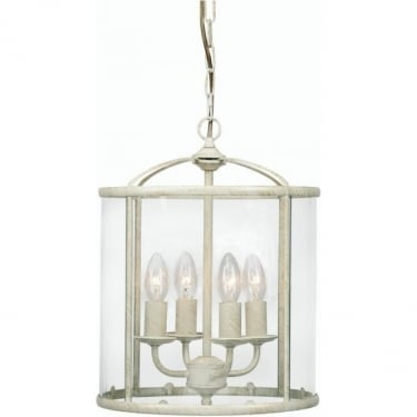 Oaks Lighting Fern Cream Gold 4 Light Hanging Lantern
