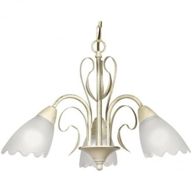 Oaks Lighting Monroe Cream Gold 3lt Ceiling Light