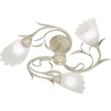 Oaks Lighting Monroe Cream Gold 3lt Semi-Flush Ceiling Light