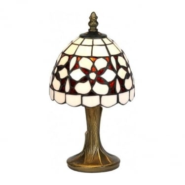 Oaks Lighting Tiffany Amber Flower Stained Glass Table Lamp