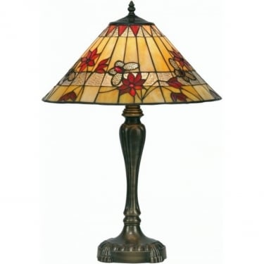 Oaks Lighting Tiffany Butterfly Stained Glass Table Lamp OT2612/17