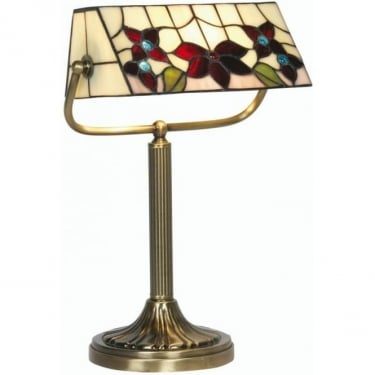 Oaks Lighting Tiffany Camillo Stained Glass Bankers Lamp