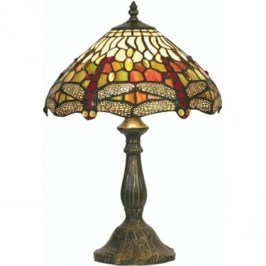 Oaks Lighting Tiffany Dragonfly Stained Glass Table Lamp OT1485/12