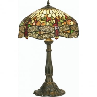 Oaks Lighting Tiffany Dragonfly Stained Glass Table Lamp OT1485/16