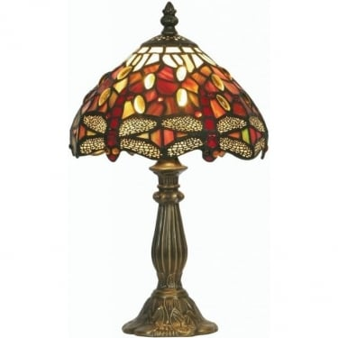 Oaks Lighting Tiffany Dragonfly Stained Glass Table Lamp OT1485/7