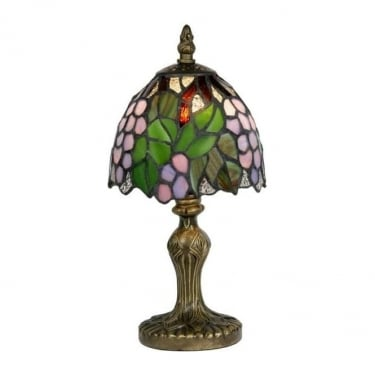 Oaks Lighting Tiffany Grapes Stained Glass Table Lamp OT 50 GR