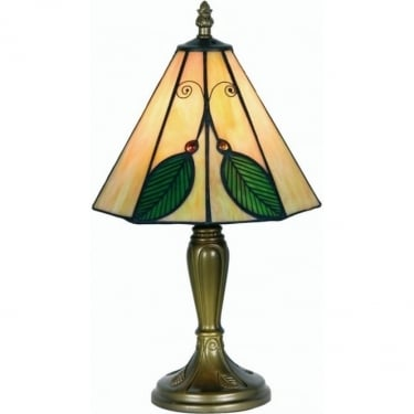 Oaks Lighting Tiffany Leaf Stained Glass Table Lamp OT3020/8TL